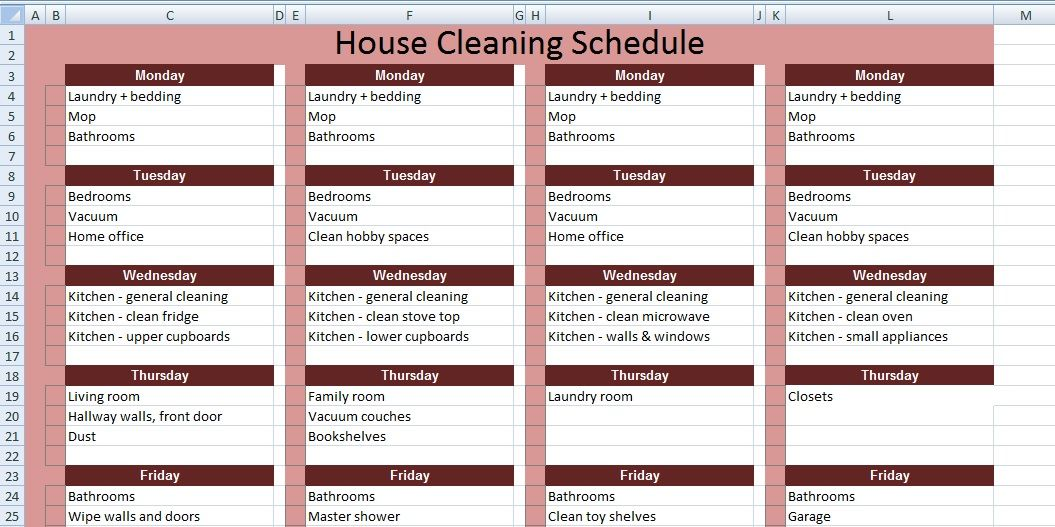 Get House Cleaning Schedule Template Xls  Excel Project