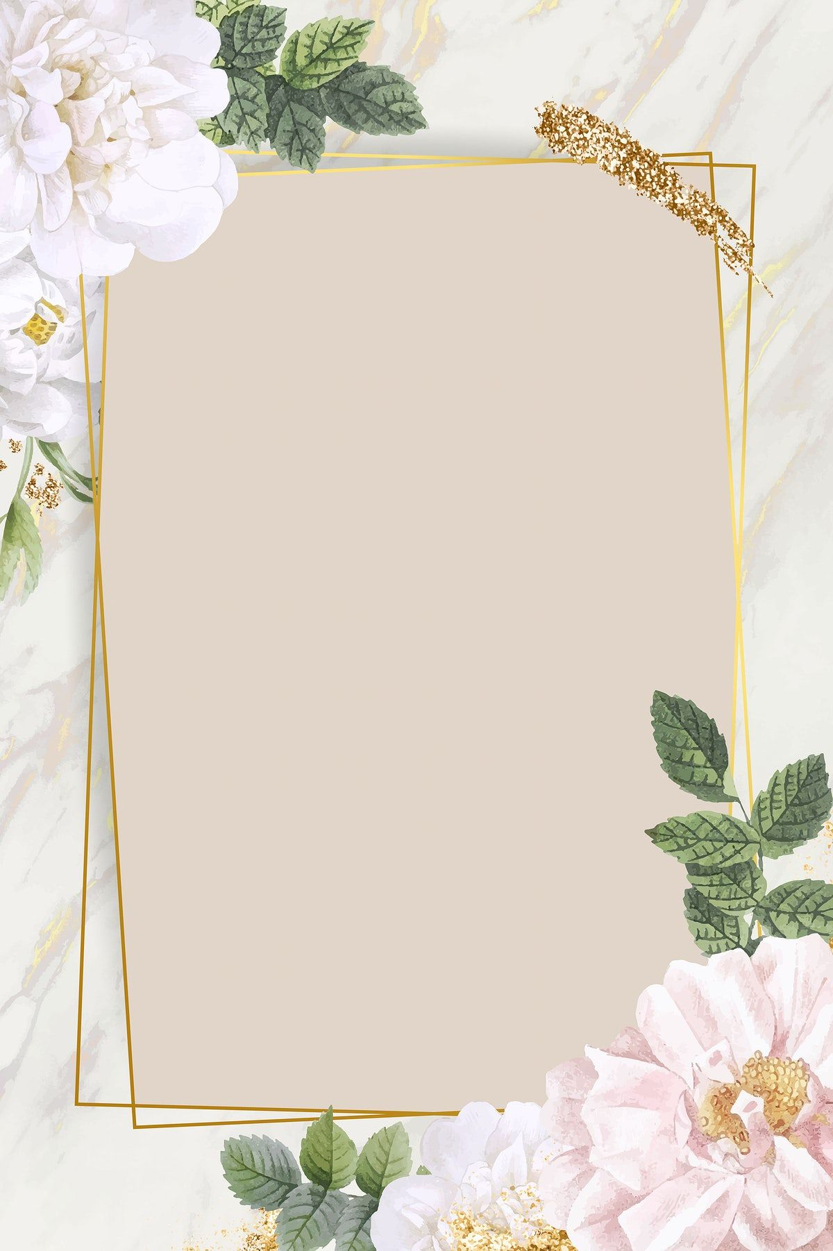 Download Premium Vector Of Rectangle Rose Frame On Marble Background In 2020 Floral Wallpaper Phone Rose Frame Flower Background Wallpaper