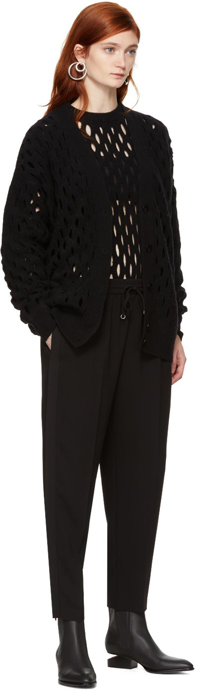 Alexander Wang - Black Oversized Intarsia Fishnet Cardigan