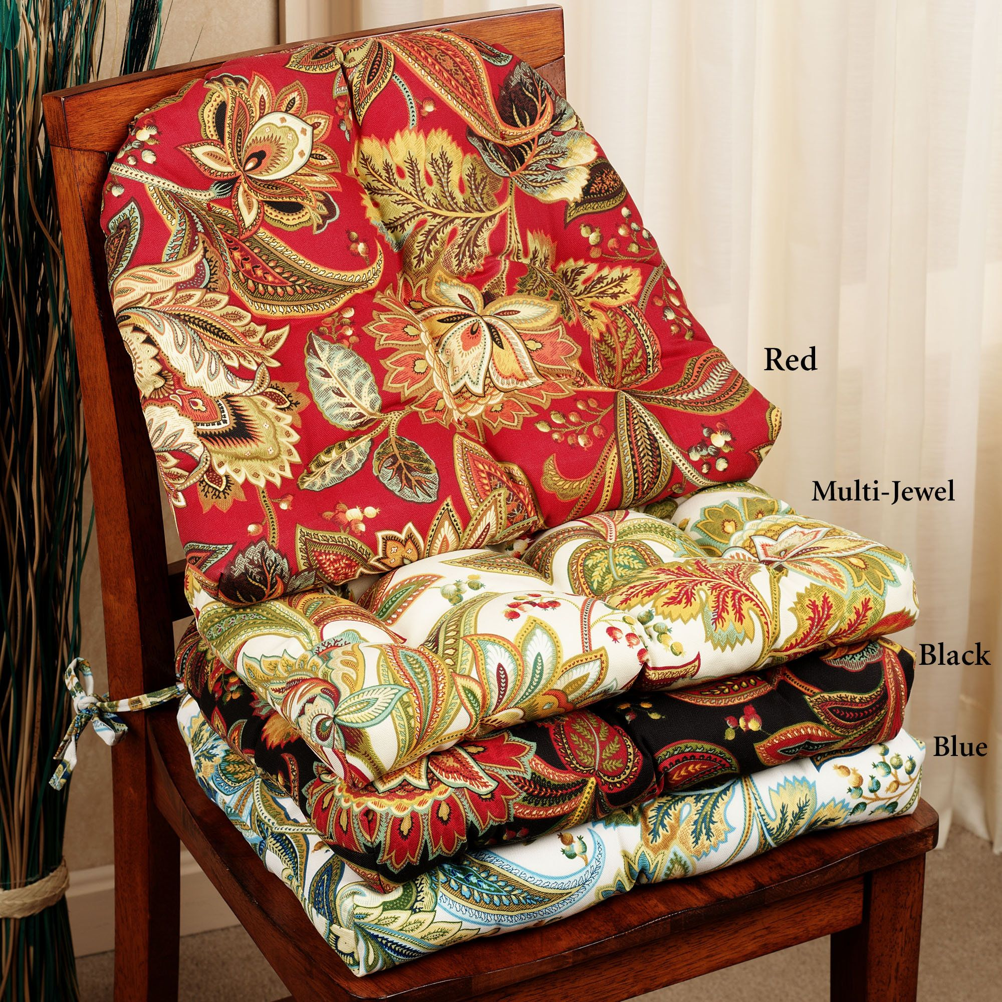 Valbella Jacobean Floral Indoor Outdoor Chair Cushion Set ...