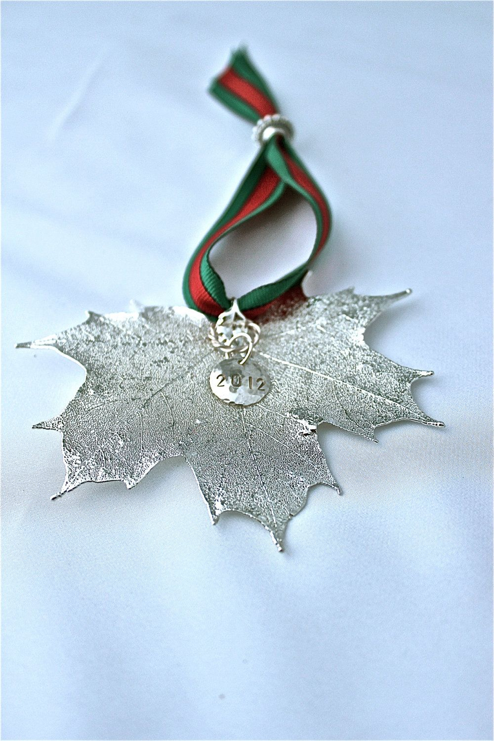 2012 Sterling Silver Plated Natural Maple Leaf Holiday or Christmas Ornament. $25.00, via Etsy.