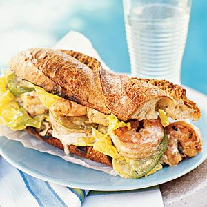 Green tomatoes at the farmer's market reminded me of these. SO delicious. Shrimp Po'boys with pickled green tomatoes and creole mayo.