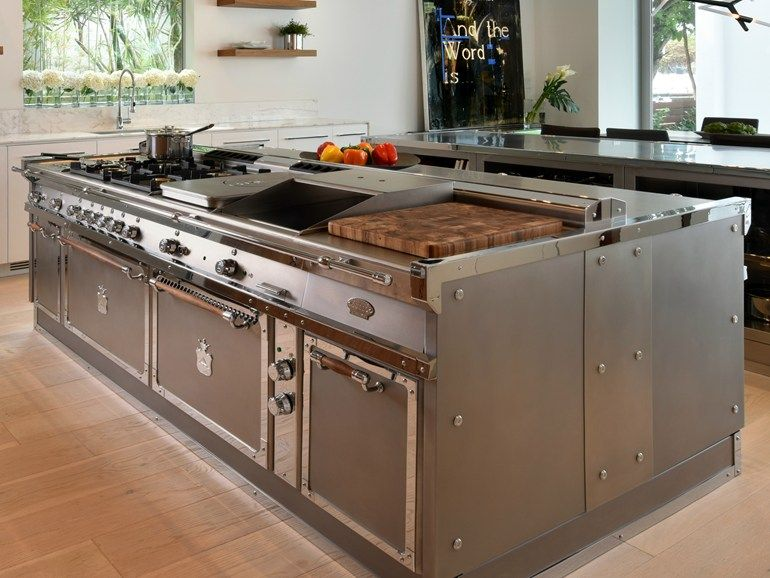 Stainless Steel Kitchen With Island Miami Officine Gullo Commercial Kitchen Design Chefs Kitchen Design Kitchen Addition