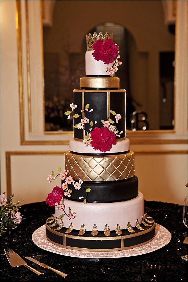 Baroque Inspired Wedding Cake ~ Black, Pink & Gold Wedding Cake ...