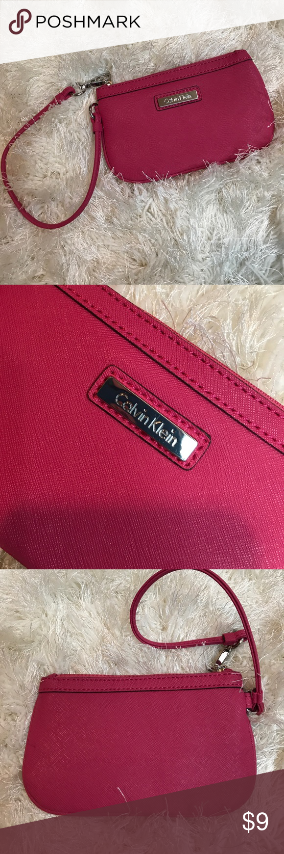 Calvin Klein pink wristlet wallet New without tags- pink with chrome accents. Measures 6.8 x 4. Very clean & flaw free. Bundling is fun; check out my other items! No price talk in comments. No trades or holds. NO SPAM. Calvin Klein Bags Clutches & Wristlets