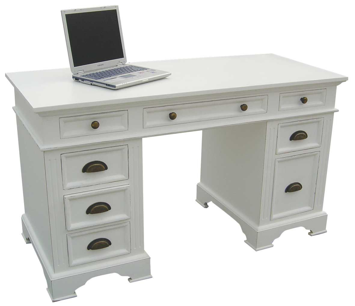 Image Detail For Kristina White Painted Double Pedestal Desk