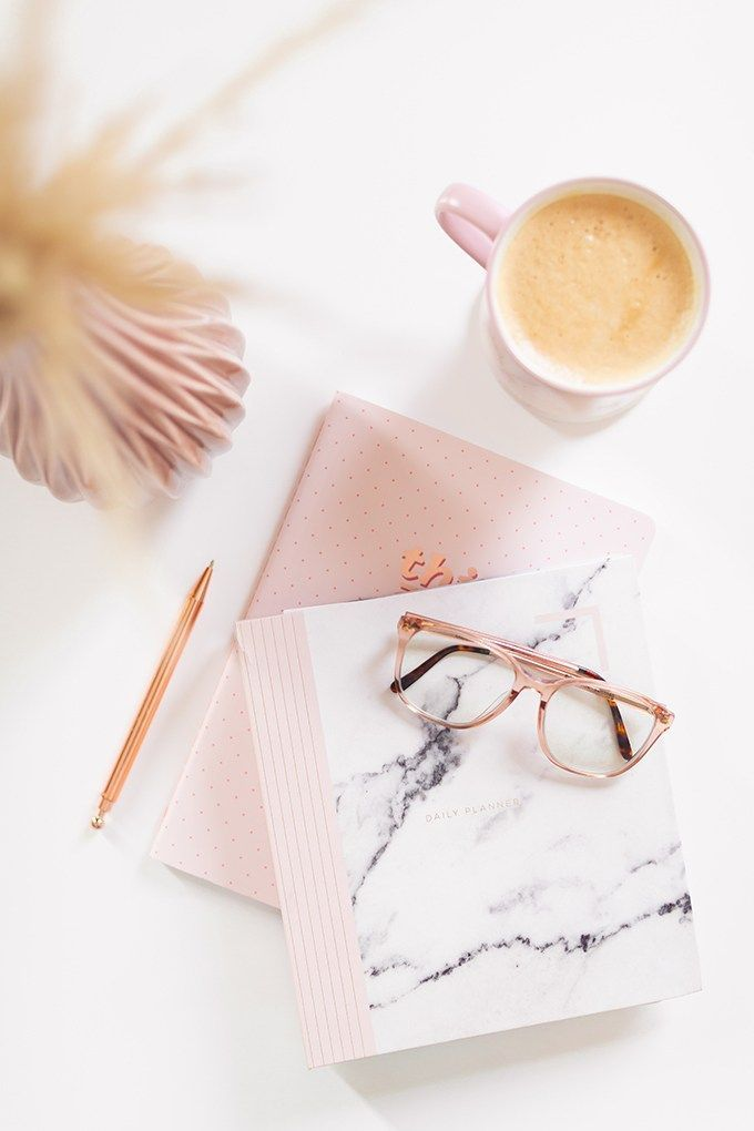 2018 Review + 2019 Goals   Calgary Lifestyle Blogger   2019 Planning and Goal Setting   Entrepreneur Working from Home   HomeSense Fringe This Girl Can 2019 Agenda   STIL Classics Daily 6 Month Planner   Nespresso Coffee on a White Coffee Table   2019 Motivational Goals Flatlay   Bonlook Lauren Blue Light Blocking Glasses In Peach // JustineCelina.com