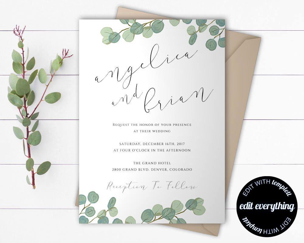 Eucalyptus Greenery Wedding Invitation Template Eucalyptus Etsy Wedding Invitation Templates Eucalyptus Wedding Invitation Wedding Invitations