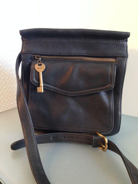 Vintage Fossil Black Leather Cross Body Bag 1954