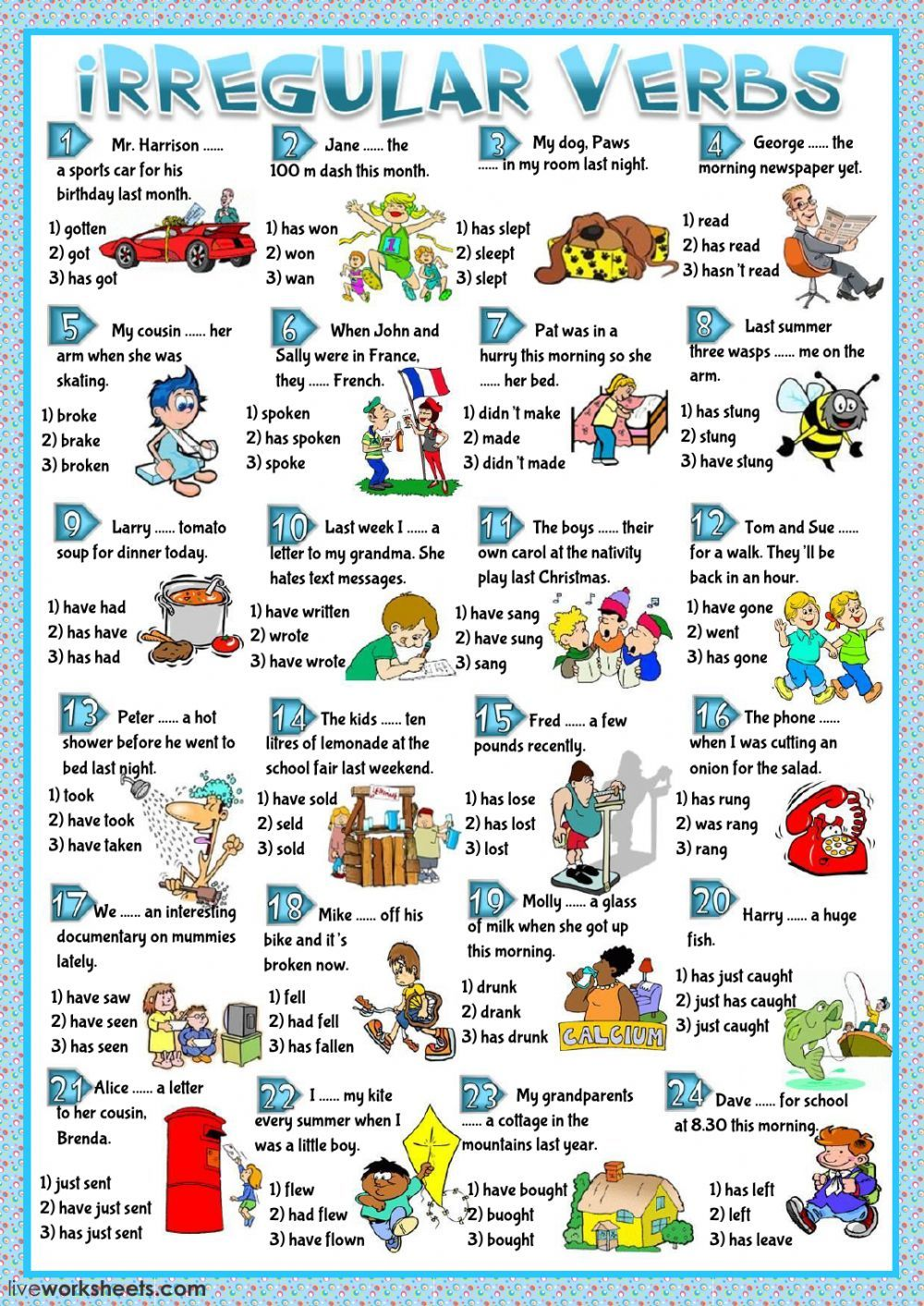 Irregular verbs interactive and downloadable worksheet  You can do