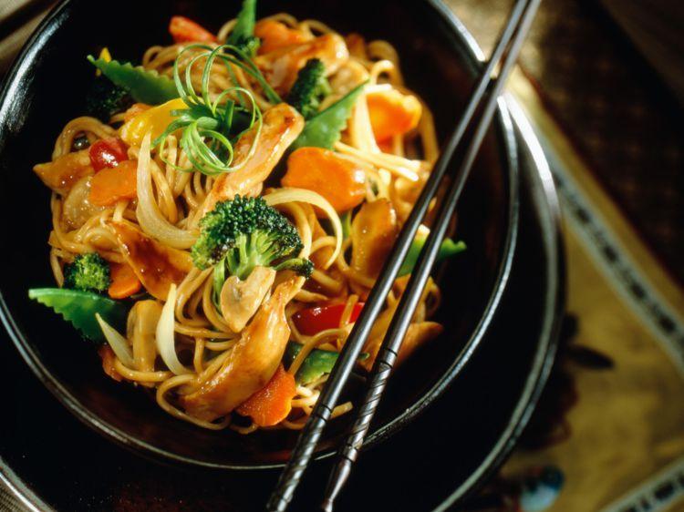 Sauté De Nouilles Chinoises Au Poulet Et Légumes Recettes Recette Nouilles Chinoises Nouilles Sautées Poulet Recette Asiatique