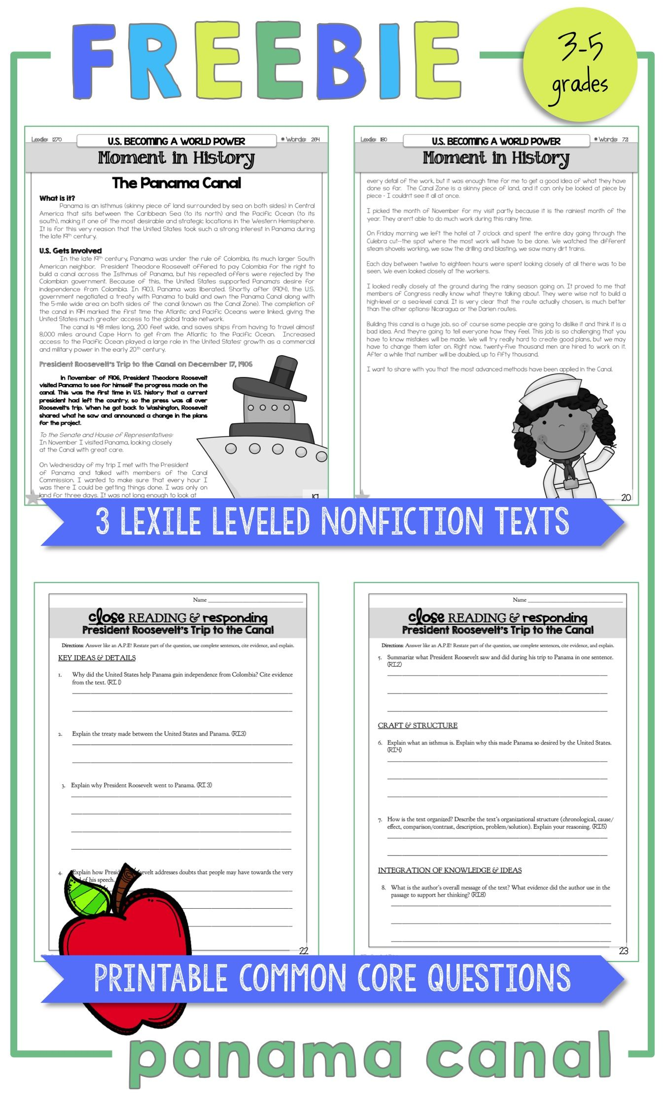 FREE Panama Canal Lexile-Leveled Nonfiction Texts! Printable Common Core  Questions [ 2248 x 1349 Pixel ]