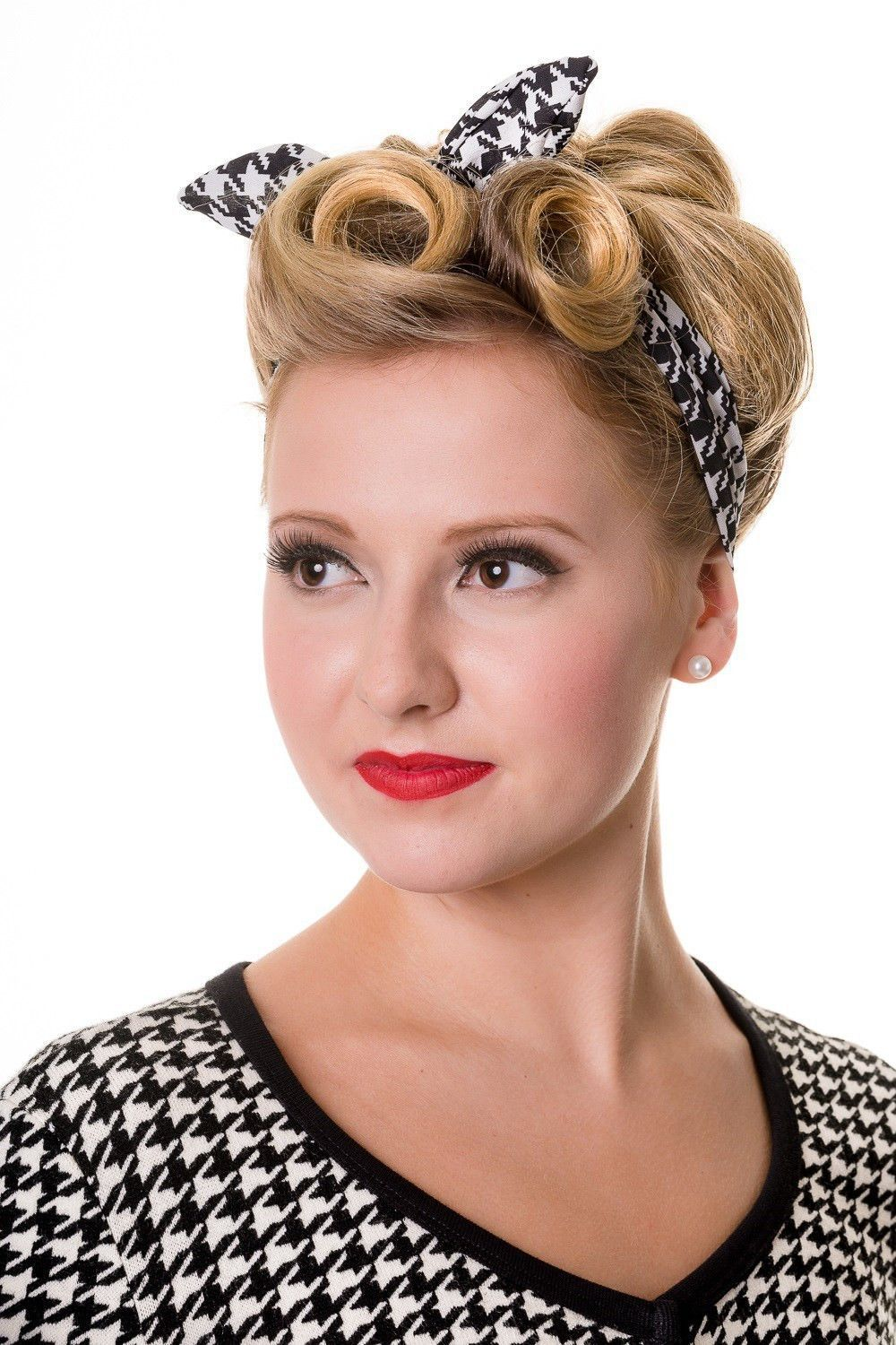 retro 60's pinup plaid and houndstooth pattern elastic