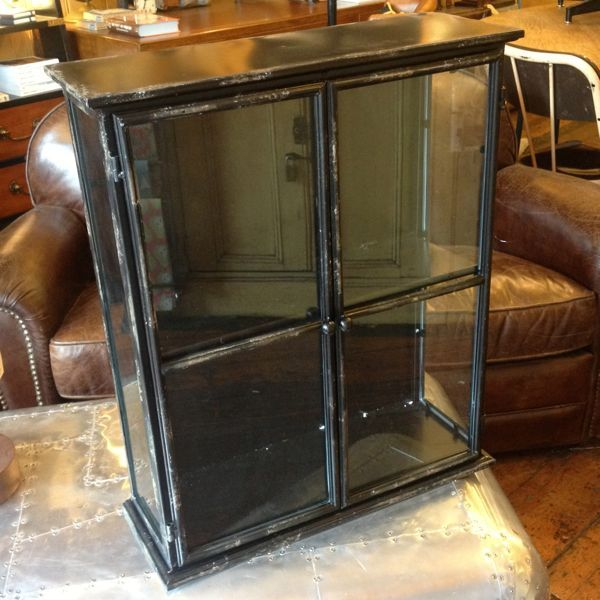 Black Metal Wall Cabinet Iron And Glass