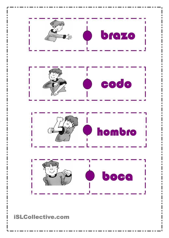 """DOMINÃ"""" PARTES DEL CUERPO   Español para niños   Pinterest   El ..."""