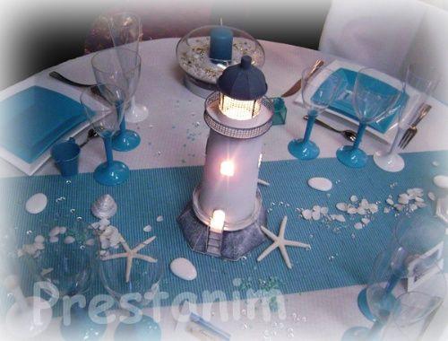 Decoration de table mariage bapt me ou anniversaire sur le - Pliage serviette theme mer ...