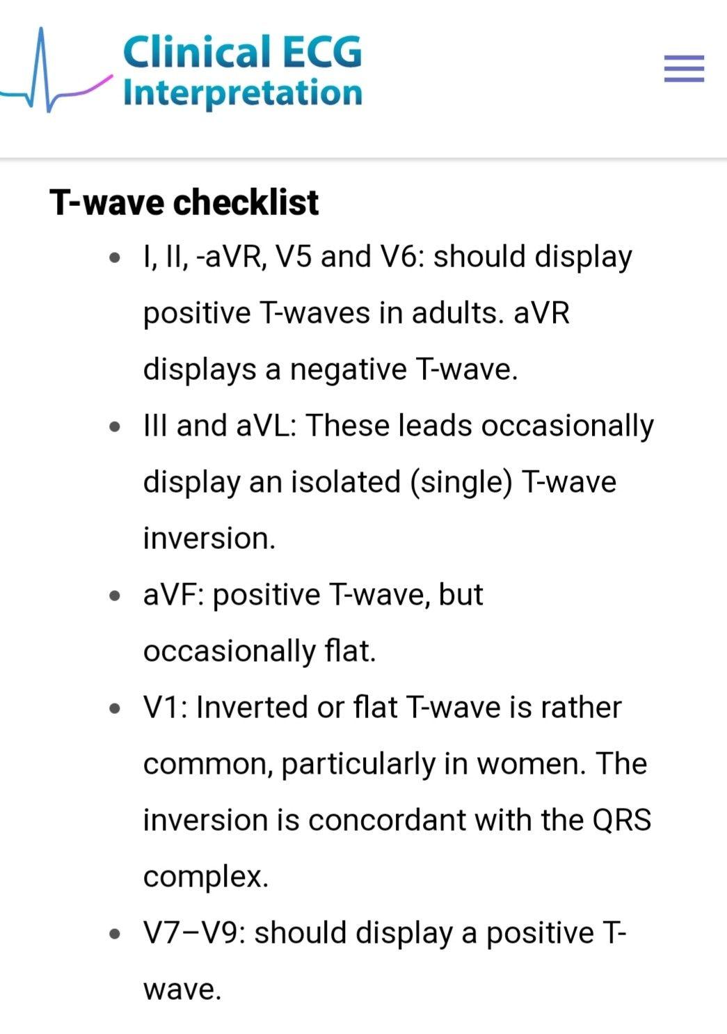 Ecg T Wave Checklist Ecg Interpretation Qrs Complex Interpretation