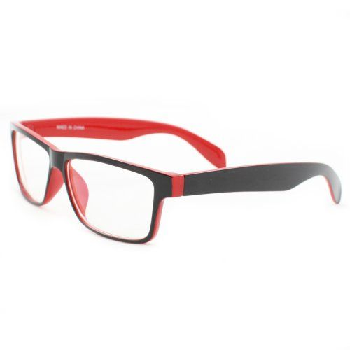 17f556ffd9 HOTLOVE Rectangle Fashion Sunglasses P2133 Black with Red Frame Clear Lens  for Women and Men can be optical frame -- To view further for this item