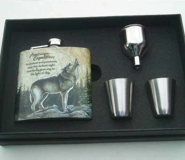 de647dc2fbed 6 oz Liquor Stainless Steel fashion wolf Hip Flask gift set for outdoor   00460039 - US 38.00 - DAYJOYBUY