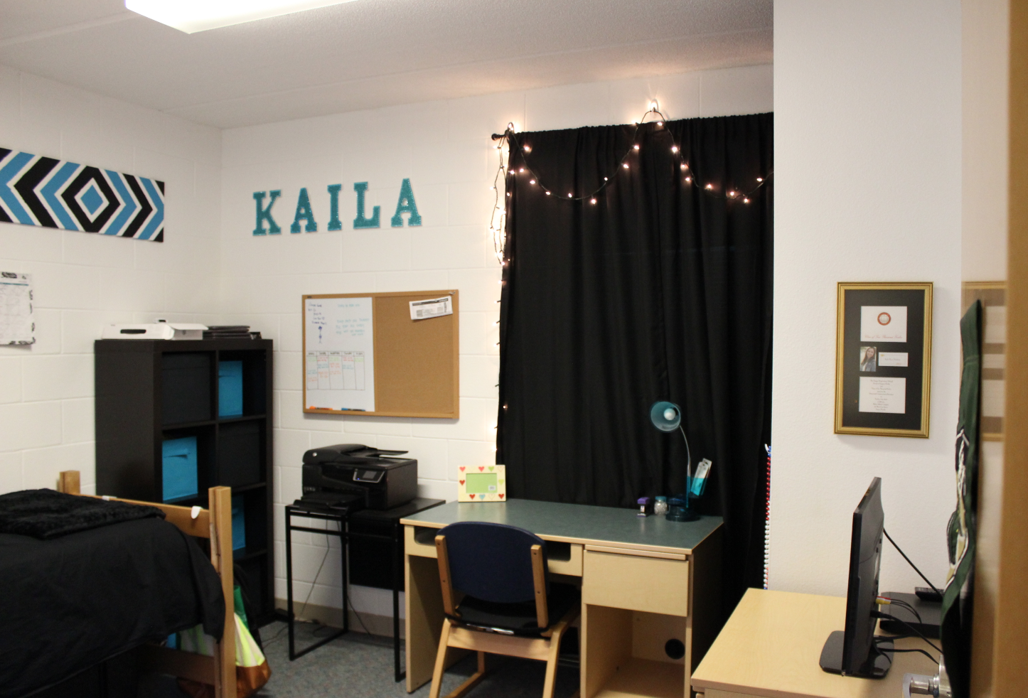 Mark Your Space Literally By Spelling Your Name With Colorful Letters On Your Wall Like This Usf Stu Dorm Room Inspiration Dorm Inspiration Room Inspiration