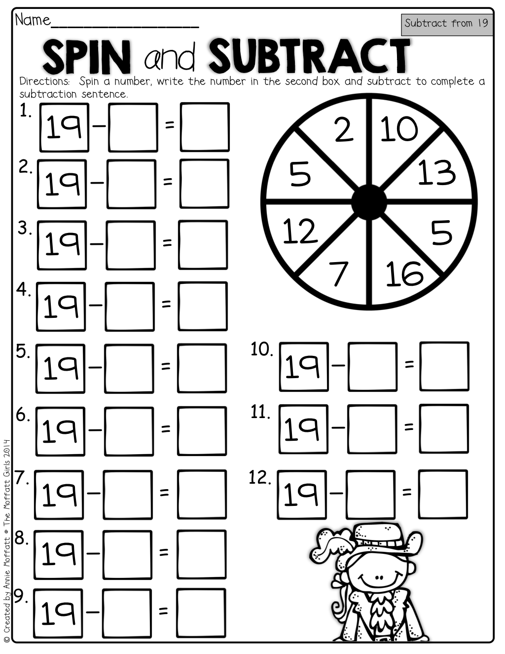 Spin And Subtract Spin The Spinner With A Paperclip And Pencil And Subtract Such A Fun And Interactive Way To Pra Math Subtraction Math Packets Subtraction [ 1325 x 1024 Pixel ]