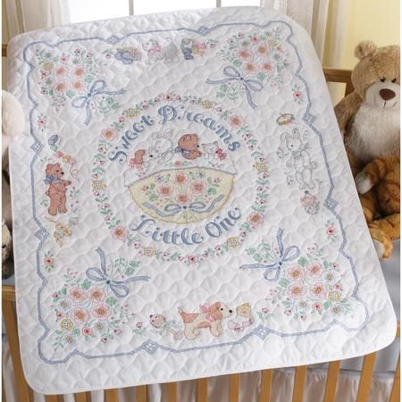 Sweet Baby Quilt Stamped Cross-Stitch Kit - Herrschners | Babies ... : bucilla cross stitch baby quilts - Adamdwight.com