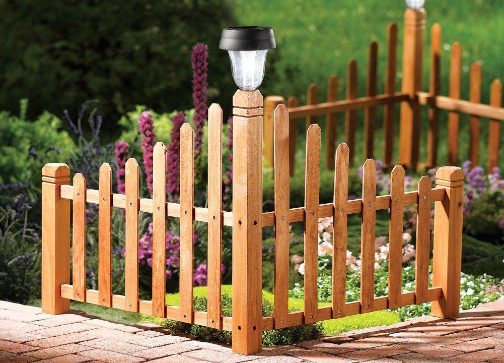 Amazon Com Wooden Corner Solar Lantern Garden Fence Perfect