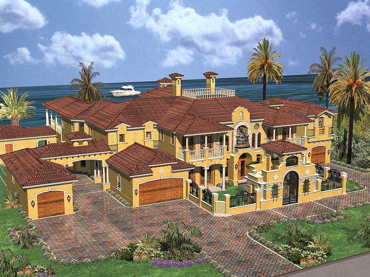 Plan 32071aa Luxury Spanish Estate In 2021 Mediterranean Style House Plans Coastal House Plans Luxury House Plans