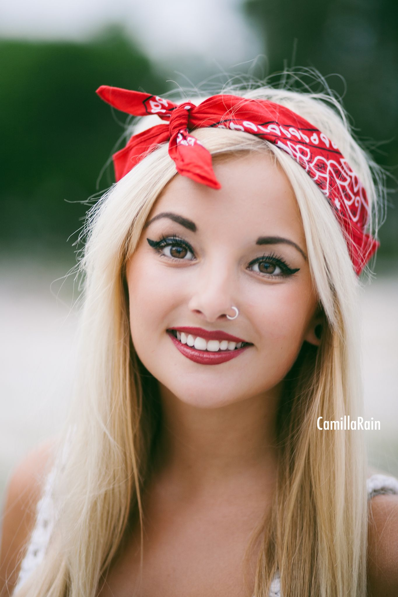 American, red bandana, red lips, 4th of July photo shoot