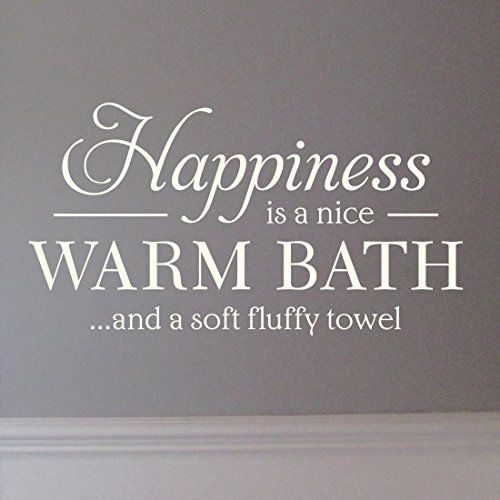 Warm Bath Bathroom Wall Art Sticker Quote H595k Large Black Amazon Co Uk Kitchen Home Sticker Wall Art Bathroom Wall Art Inspirational Wall Quotes