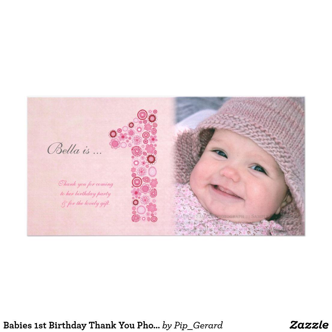 Babies 1st Birthday Thank You Photo Card Zazzle Com Birthday Thank You Baby 1st Birthday Thank You Photos