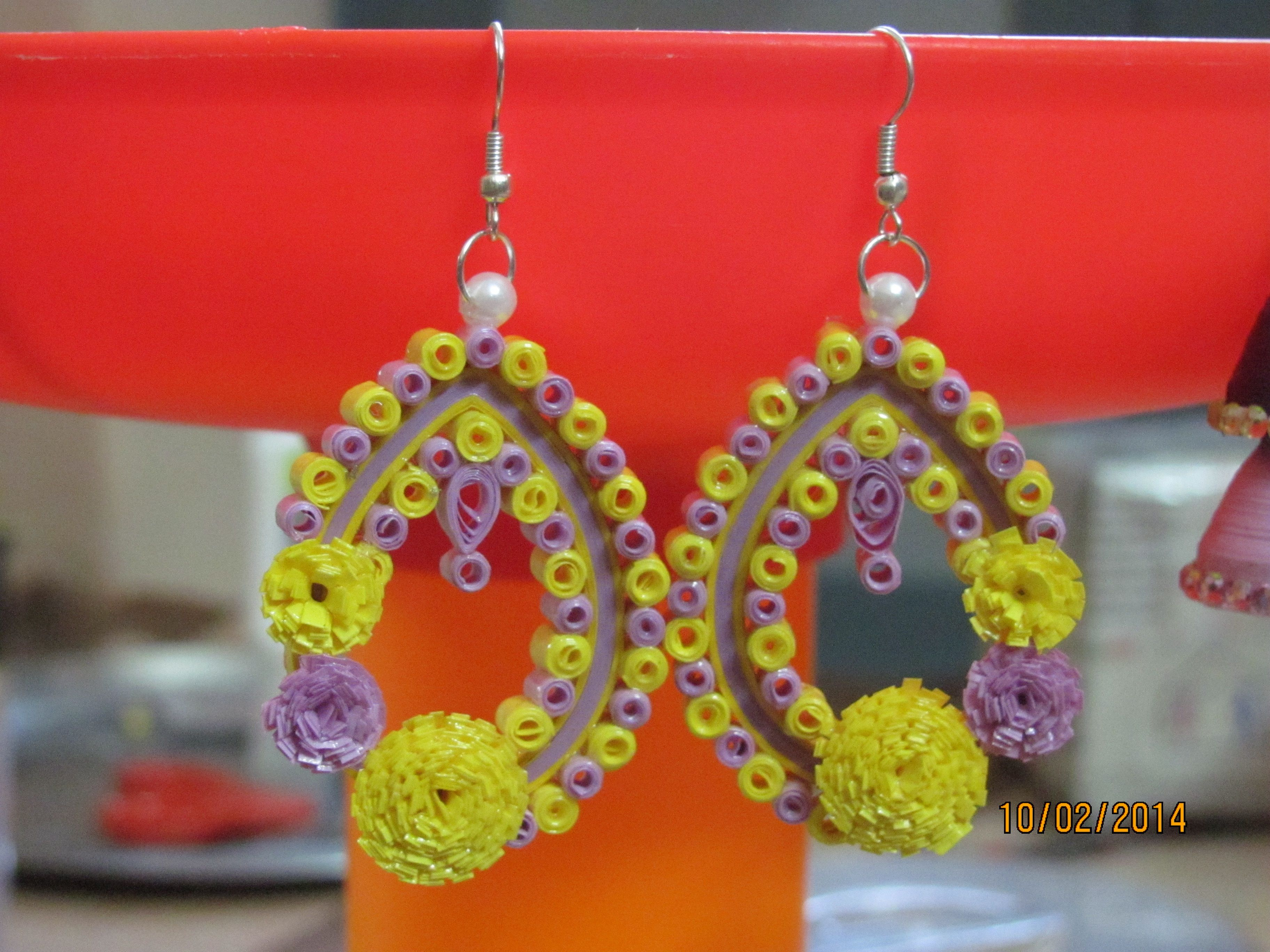 Quilling Fringe flower Ear hangings made with combination of ...