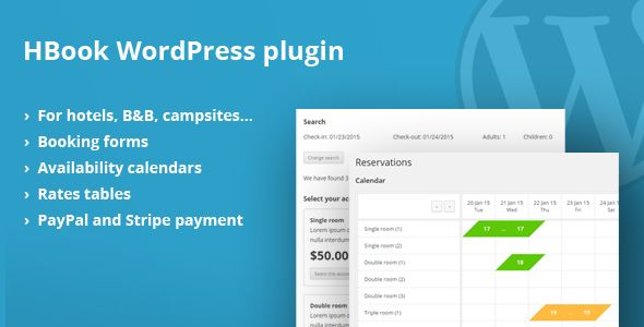 HBook - Hotel booking system - WordPress Plugin Wordpress and Website - reservation forms in pdf