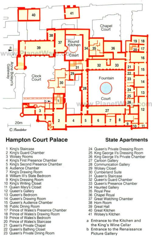 layout of some of Hampton Court palace