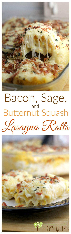 Bacon, Sage, and Butternut Squash Lasagna Rolls from EricasRecipes.com (Zuchinni Squash Recipes)