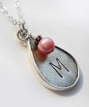 Another great find on #zulily! Pink Pearl & Sterling Silver Teardrop Initial Pendant Necklace #zulilyfinds
