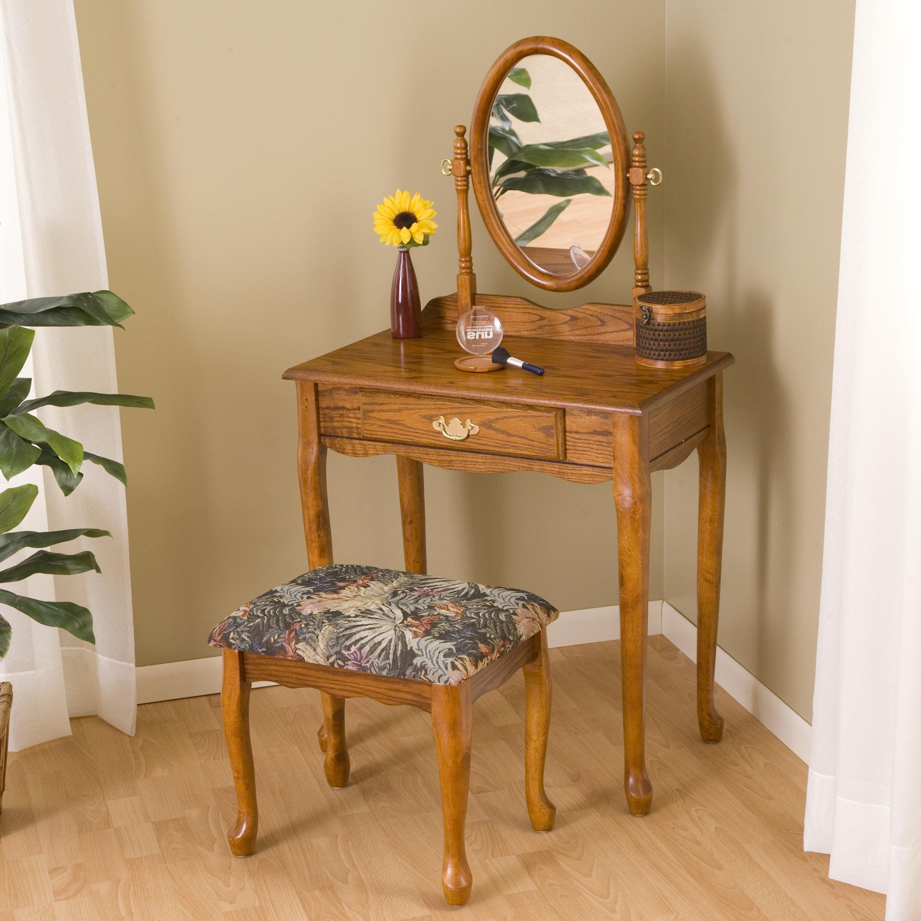 oak bedroom vanity sets