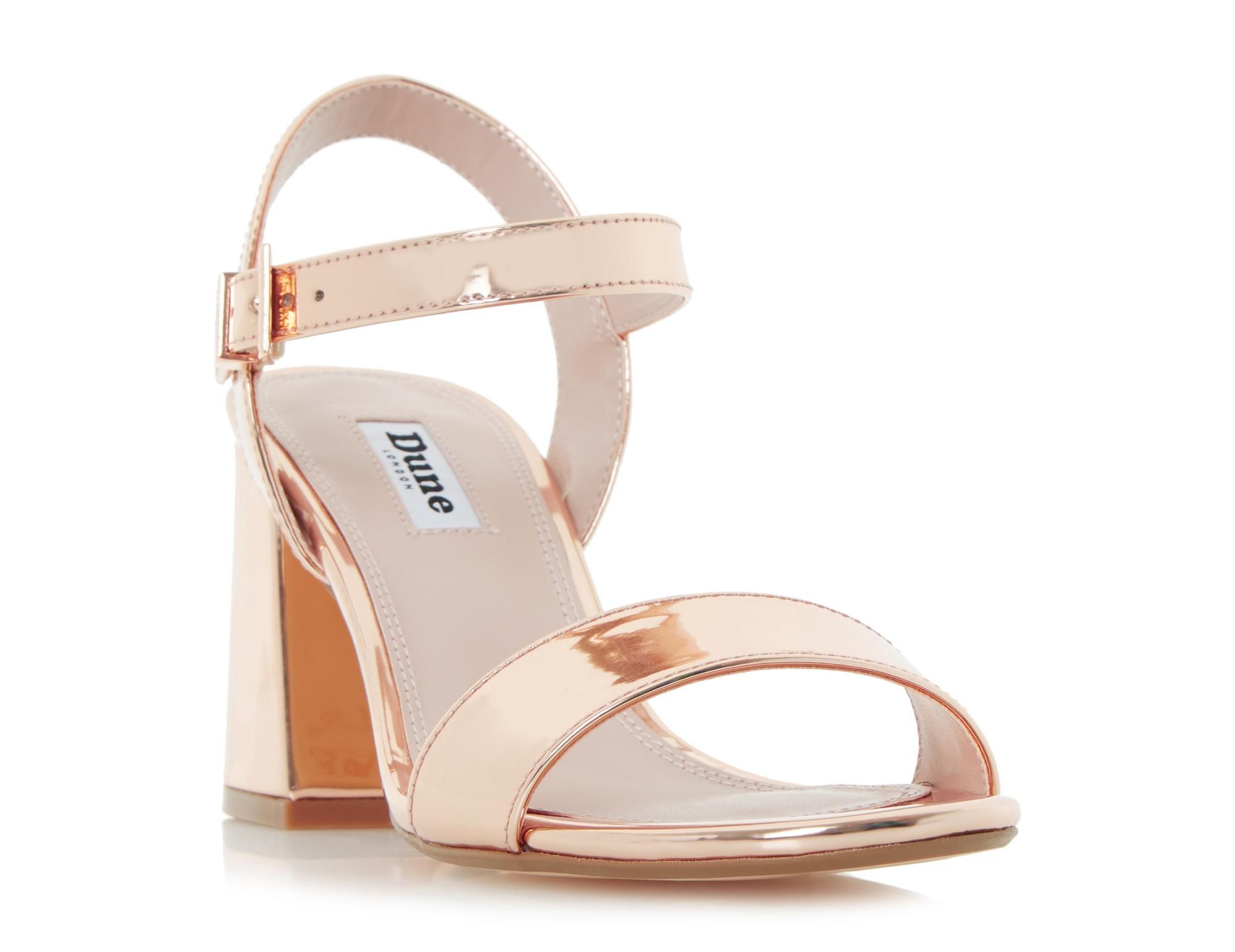 1121a6402b5 The Mylow sandal will keep you looking chic from day to night with ease.  This two part style features an adjustable Dune branded buckle fastening.