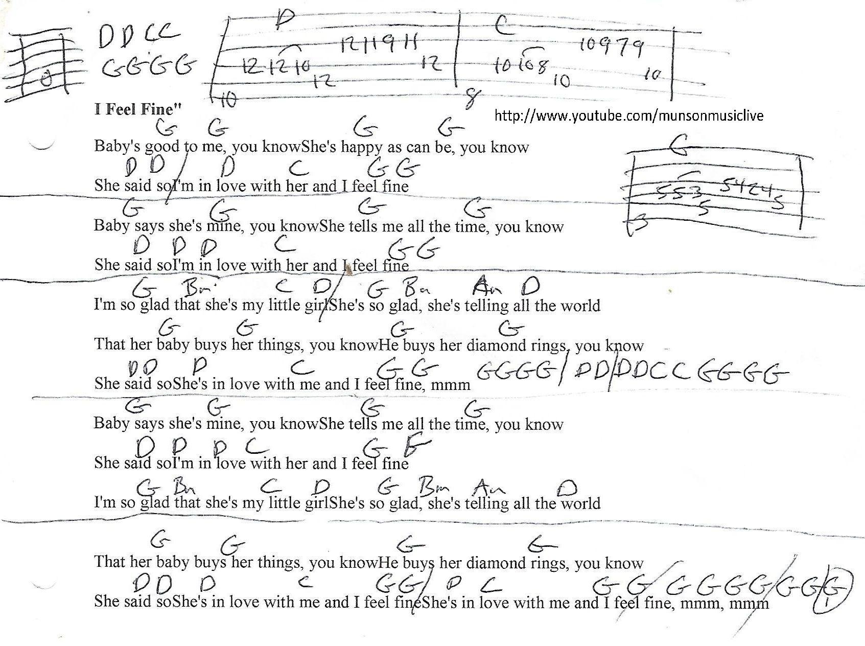 I Feel Fine Beatles Guitar Chord Chart Guitartutorials Song
