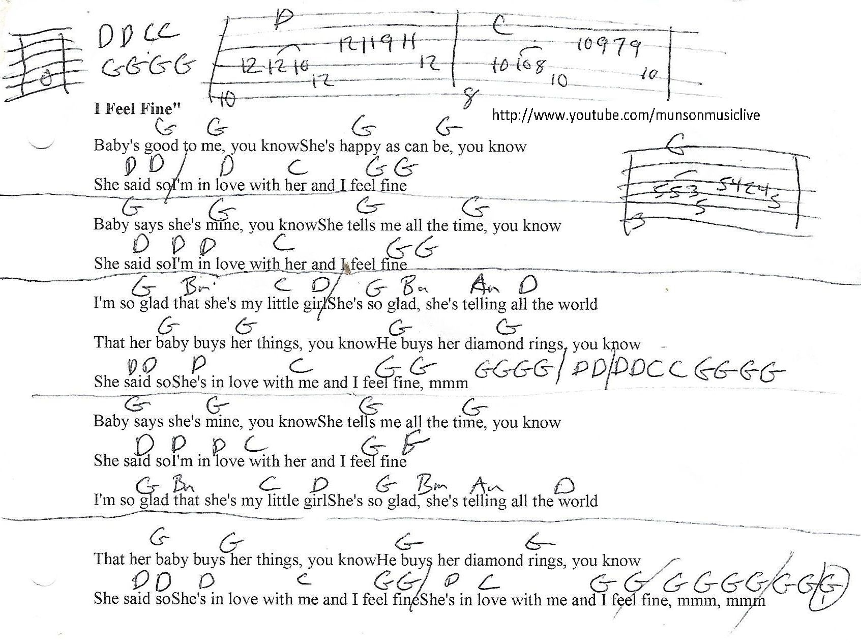 I Feel Fine Beatles Guitar Chord Chart Guitar Lesson Chord