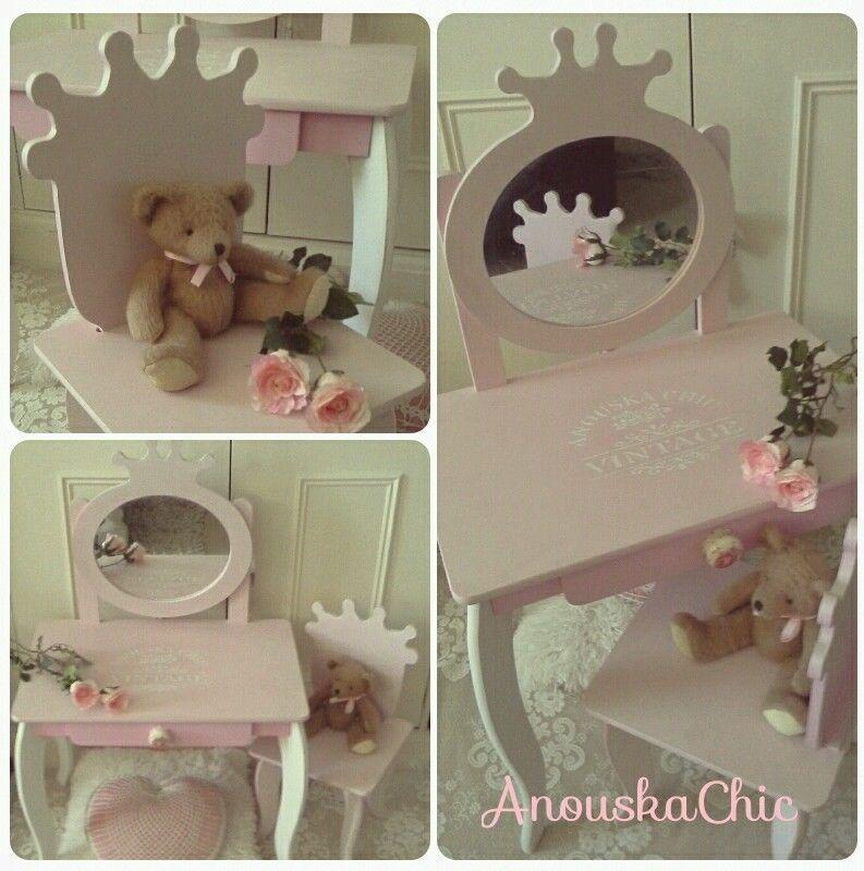 Little Girls Princess Dressing Table Mirror U0026 Chair Shabby Chic Annie Sloan  In Dressing Tables | EBay