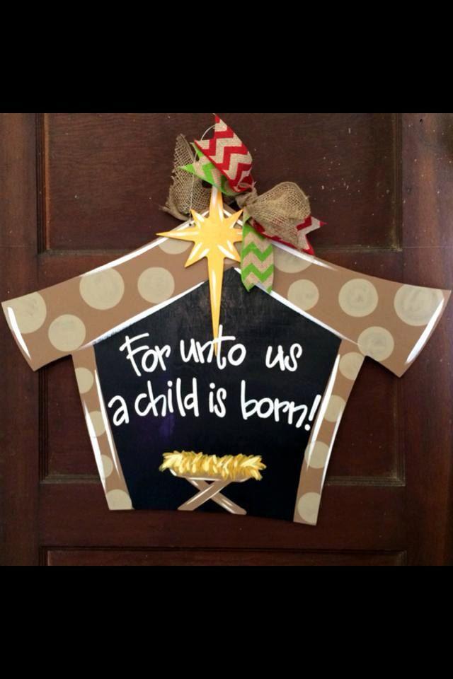 Items similar to Manger Scene, Christmas Door Hanger, Christmas Wreath on Etsy