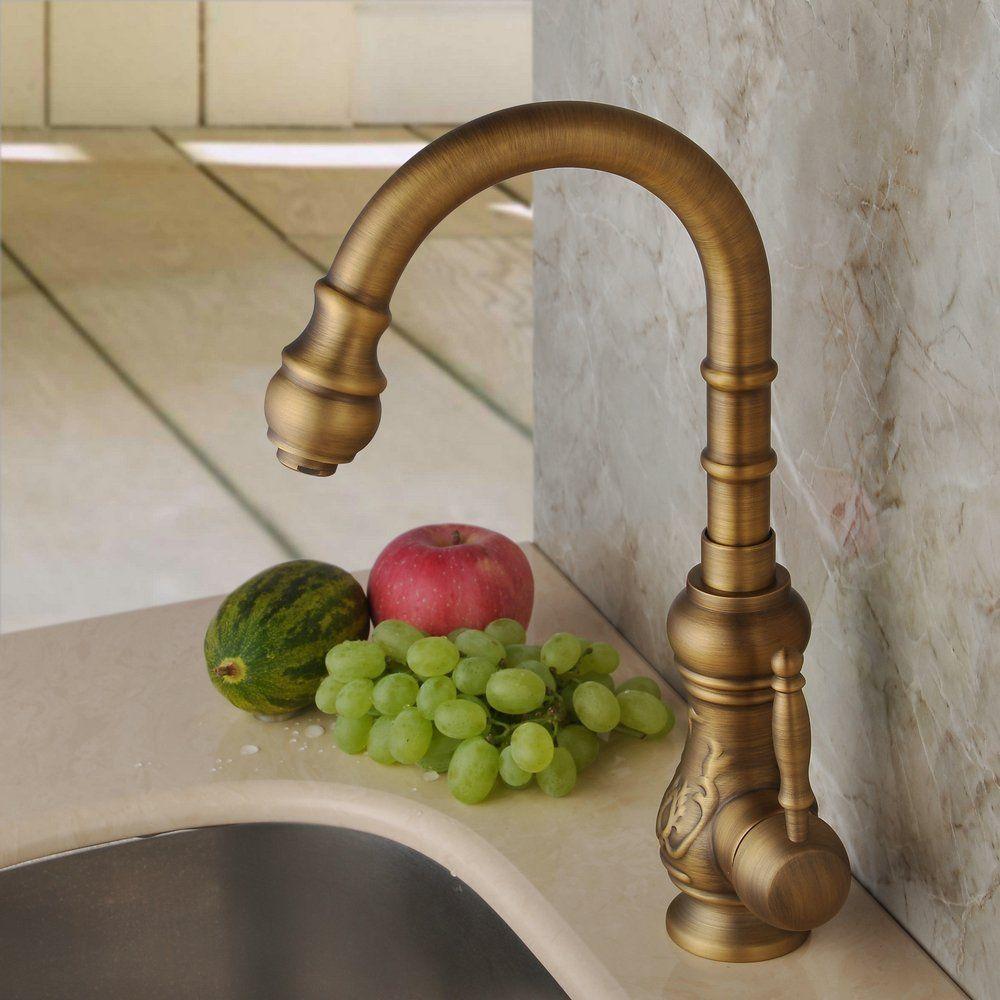 Hiendure® Latón de arco alto grifo de la cocina grifería de lavabo ...