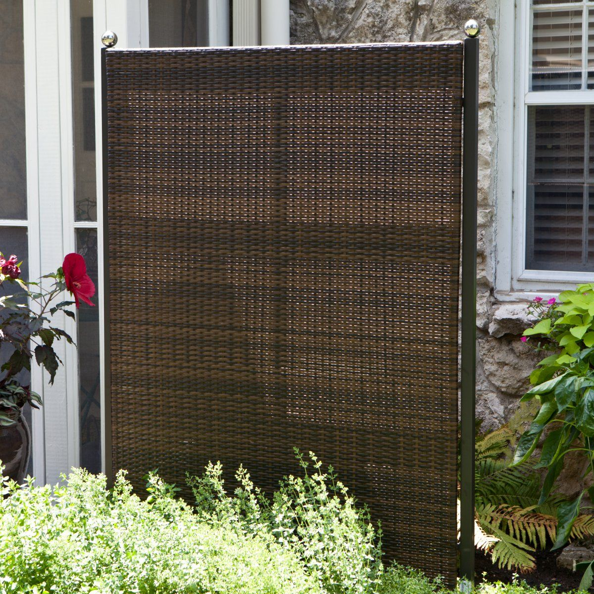 Versare outdoor wicker resin room divider outdoor for Tall outdoor privacy screen panels