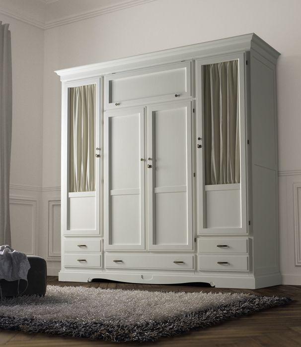 Armarios de matrimonio clásicos de 4 puertas en color blanco, cerezo ...