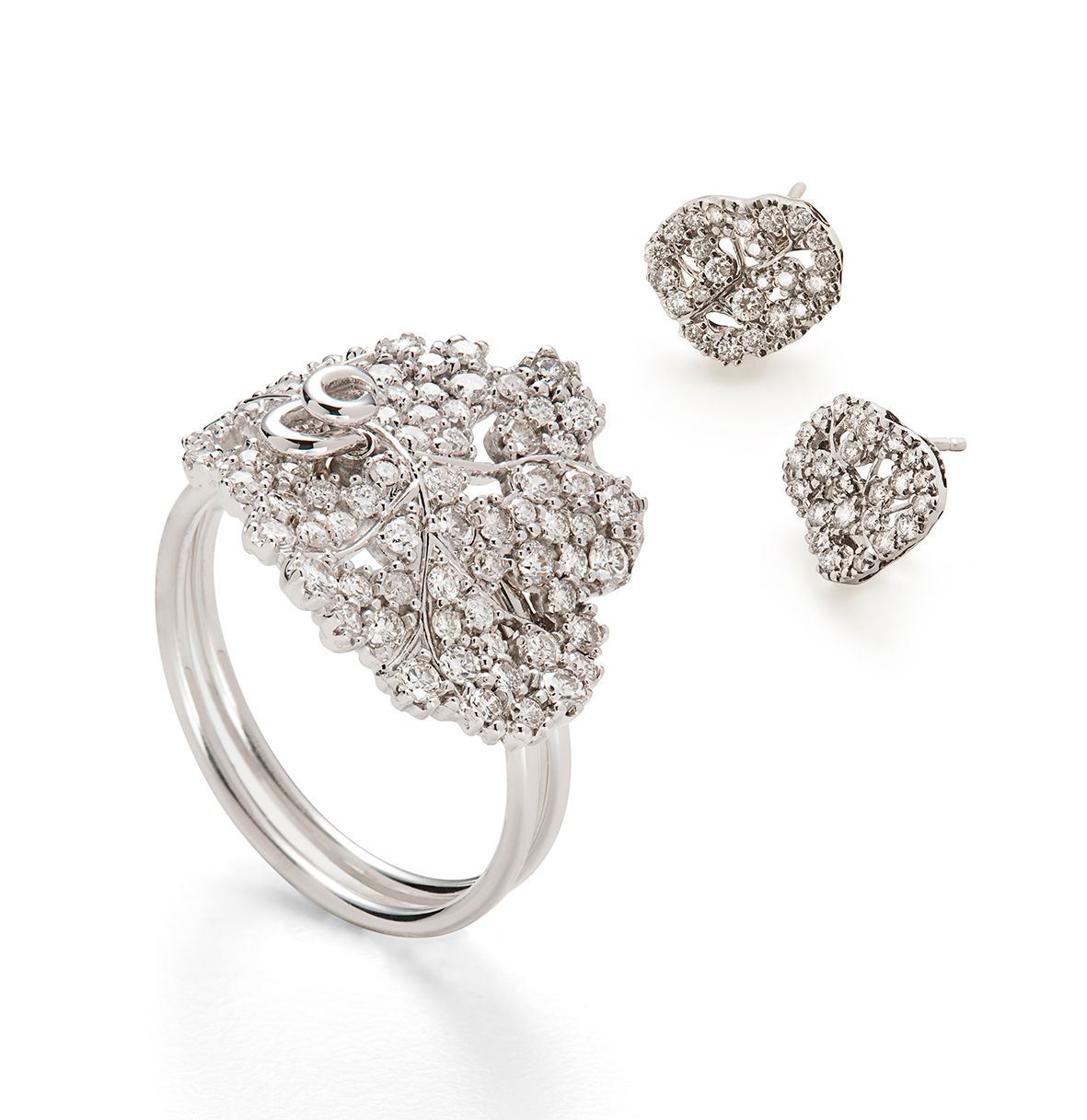 H.Stern Natur Collection Ring And Earrings In 18K White
