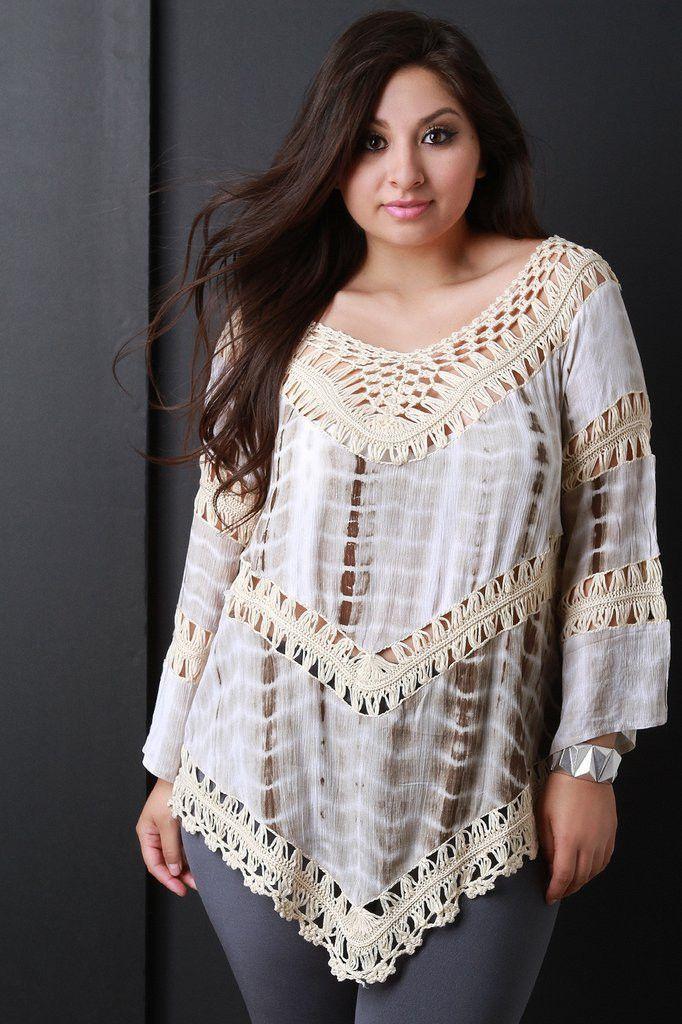 Tie Dye Crochet Panel Bell Sleeve Top