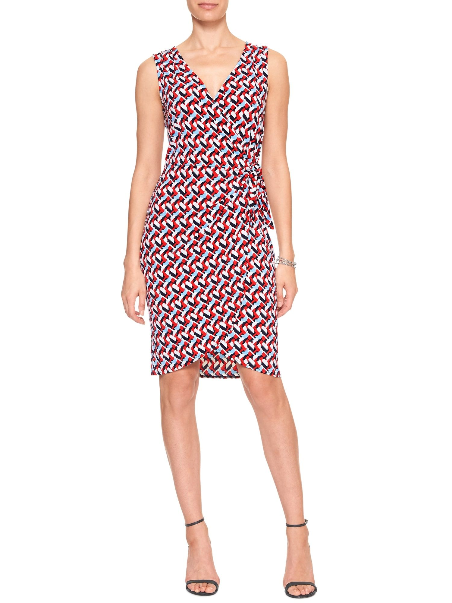 Print Side Knot Tie Wrap Dress Banana Republic Factory