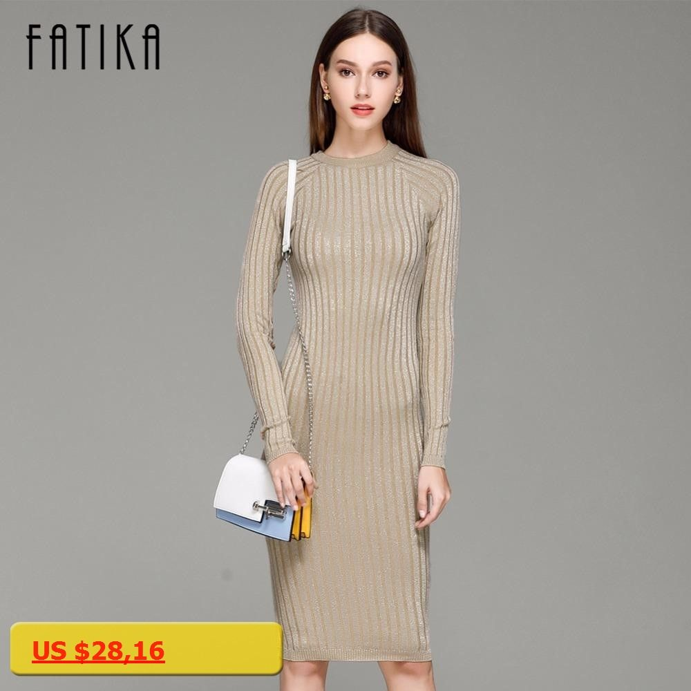 Fatika women knitted dress spring autumn long sexy bodycon