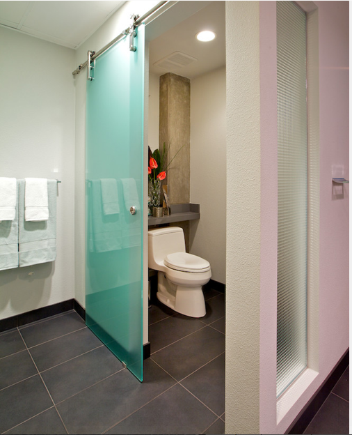 Sliding barn door for toilet room google search a for Master bathroom glass doors